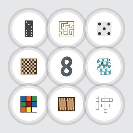 backgammon: Flat Icon Play Set Of Bones Game, Backgammon, Dice And Other Vector Objects Illustration