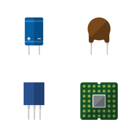 Flat Icon Device Set Of Triode, Unit, Transistor And Other Vector Objects