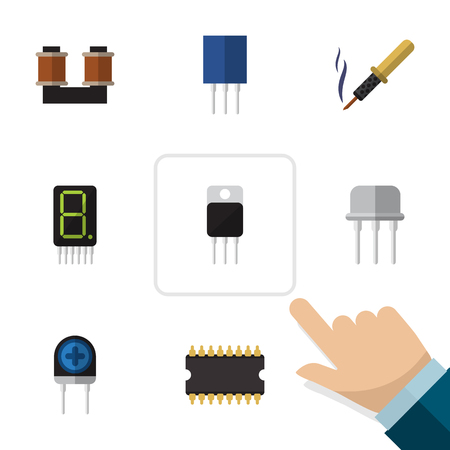 Flat Icon Technology Set Of Coil Copper, Repair, Resist And Other Vector Objects Illustration