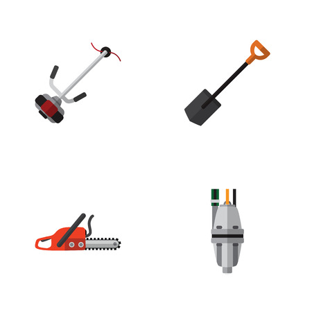 Flat Icon Garden Set Of Grass-Cutter, Pump, Hacksaw And Other Vector Objects