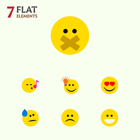 feel good: Flat Icon Emoji Set Of Hush, Tears, Grin And Other Vector Objects