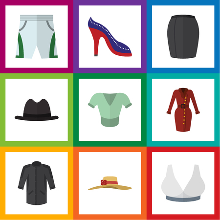 Flat Icon Garment Set Of Uniform, Brasserie, Casual And Other Vector Objects Çizim