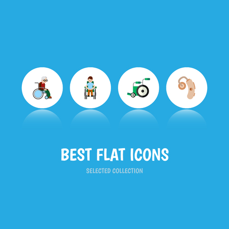 Flat Icon Handicapped Set Of Equipment, Wheelchair, Audiology And Other Vector Objects Illustration