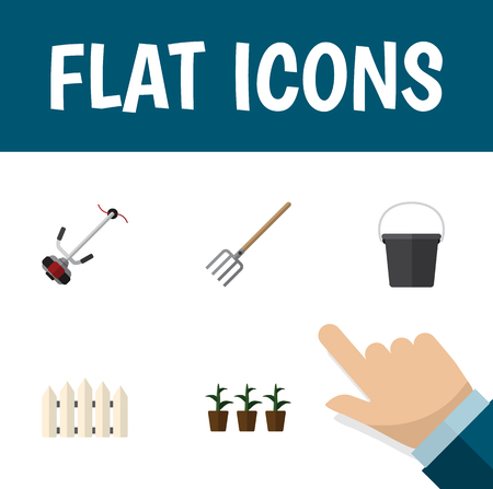 parapet: Flat Icon Dacha Set Of Wooden Barrier, Grass-Cutter, Flowerpot And Other Vector Objects