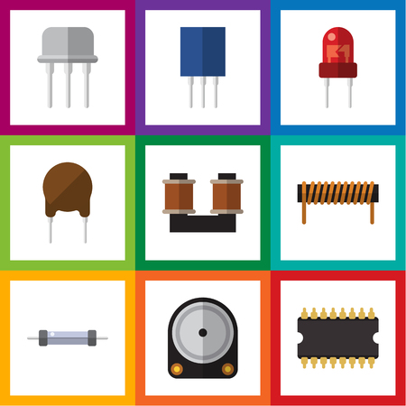Flat Icon Electronics Set Of Hdd, Triode, Bobbin And Other Vector Objects