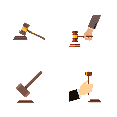 Flat Icon Hammer Set Of Law, Court, Tribunal And Other Vector Objects