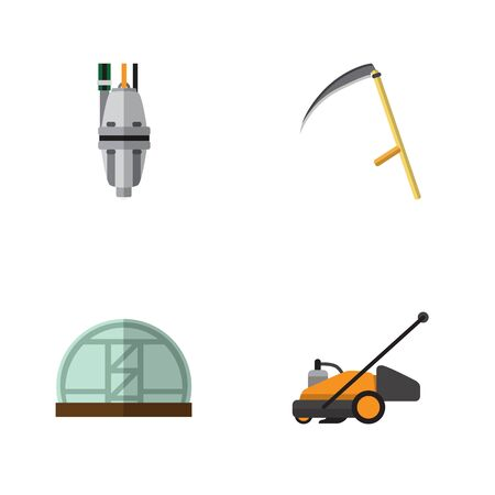 Flat Icon Dacha Set Of Cutter, Lawn Mower, Pump And Other Vector Objects