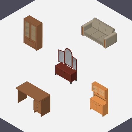 Isometric Furniture Set Of Cabinet, Table, Couch And Other Vector Objects Illustration
