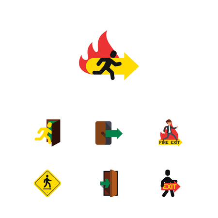 escape: Flat Icon Exit Set Of Emergency, Exit, Entrance And Other Vector Objects Illustration