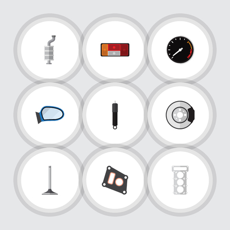 Flat Icon Component Set Of Tachometr, Car Segment, Combustion And Other Vector Objects