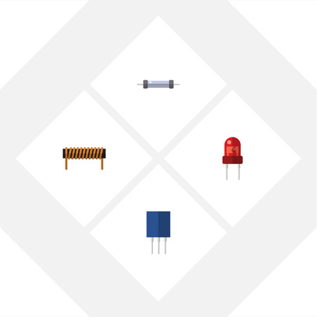 Flat Icon Technology Set Of Resistor, Bobbin, Receptacle And Other Vector Objects