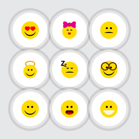 Flat Icon Gesture Set Of Pleasant, Love, Grin And Other Vector Objects Ilustrace