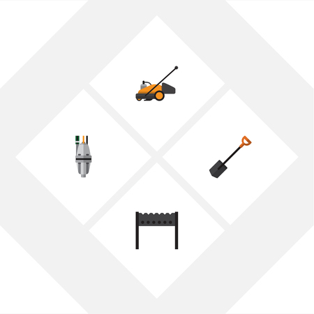 Flat Icon Garden Set Of Lawn Mower, Barbecue, Spade And Other Vector Objects Illustration