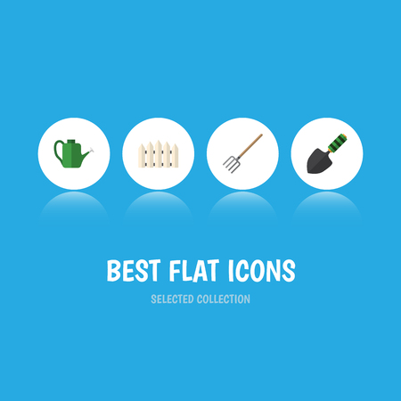 Flat Icon Dacha Set Of Trowel, Bailer, Hay Fork And Other Vector Objects