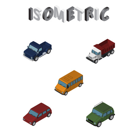 Isometric Automobile Set Of Freight, Suv, Autobus And Other Vector Objects