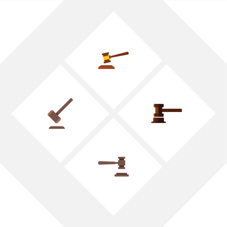 Flat Icon Court Set Of Hammer, Legal, Government Building And Other Vector Objects Illustration
