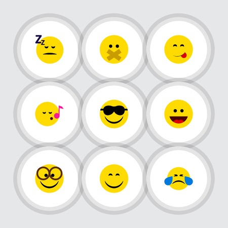 Flat Icon Face Set Of Cold Sweat, Smile, Descant And Other Vector Objects Ilustrace