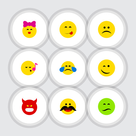 Flat Icon Gesture Set Of Sad, Frown, Cheerful And Other Vector Objects