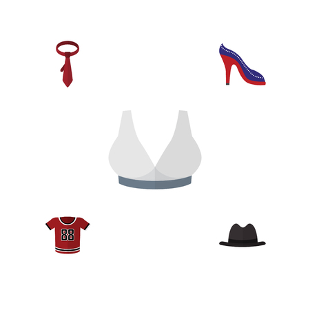 Flat Icon Garment Set Of Cravat, Panama, T-Shirt And Other Vector Objects