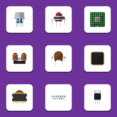 Flat Icon Appliance Set Of Cpu, Microprocessor, Unit And Other Vector Objects