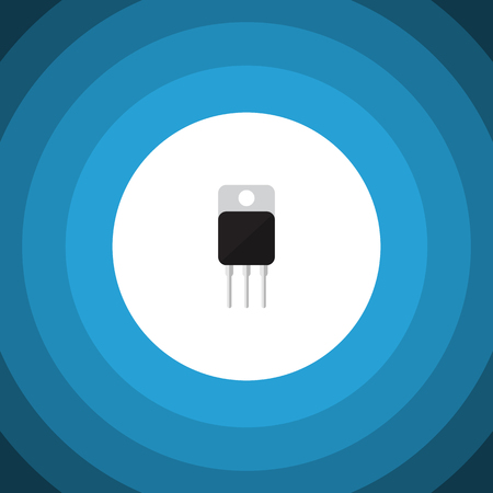 transistor: Receiver Vector Element Can Be Used For Receiver, Transistor, Set Design Concept.  Isolated Transistor Flat Icon. Vectores