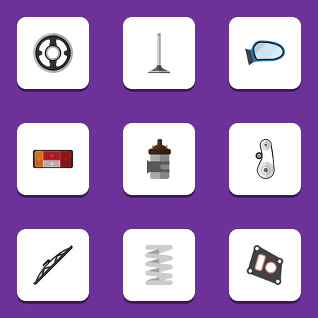 axles: Flat Icon Component Set Of Car Segment, Cambelt, Crankshaft And Other Vector Objects