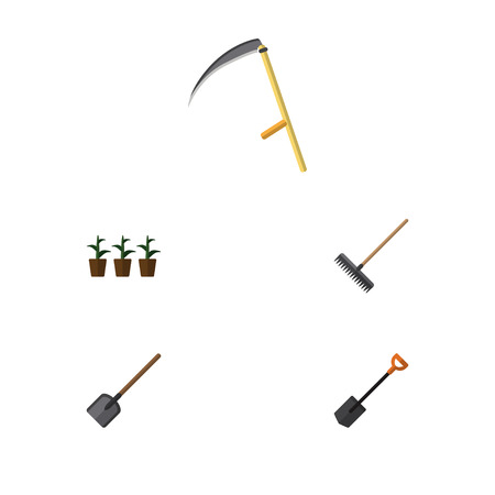 Flat Icon Dacha Set Of Harrow, Flowerpot, Spade And Other Vector Objects