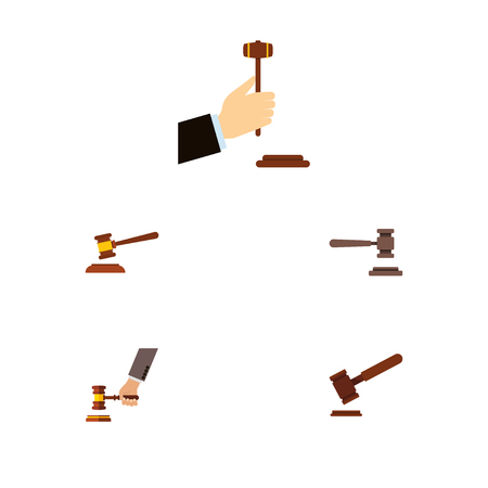 Flat Icon Lawyer Set Of Hammer, Law, Legal And Other Vector Objects