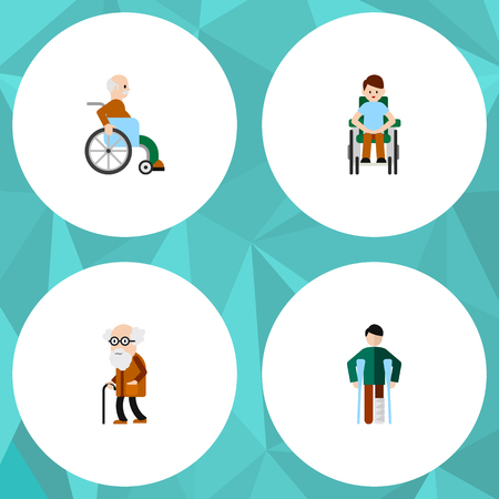 ancestor: Flat Icon Disabled Set Of Injured, Disabled Person, Ancestor And Other Vector Objects