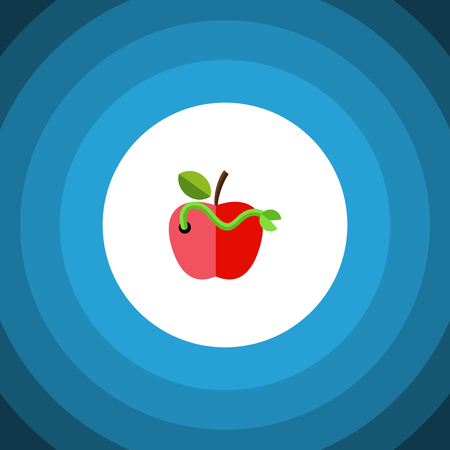 Worm Vector Element Can Be Used For Worm, Rotten, Apple Design Concept.  Isolated Rotten Flat Icon. Illustration