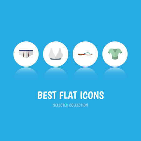 Flat Icon Garment Set Of Beach Sandal, Brasserie, Underclothes Vector Objects Illustration