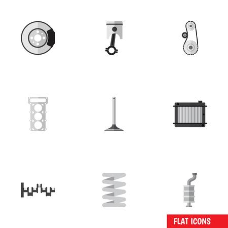 Platte pictogram Component Set van Cambelt, kachel, Conrod en andere Vectorobjecten