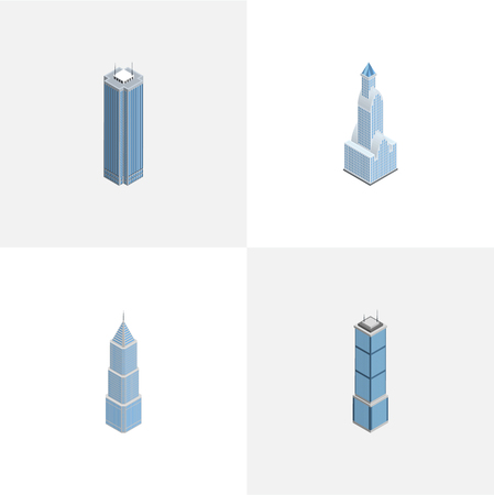 metropolitan: Isometric Building Set Of Skyscraper, Apartment, Exterior And Other Vector Objects