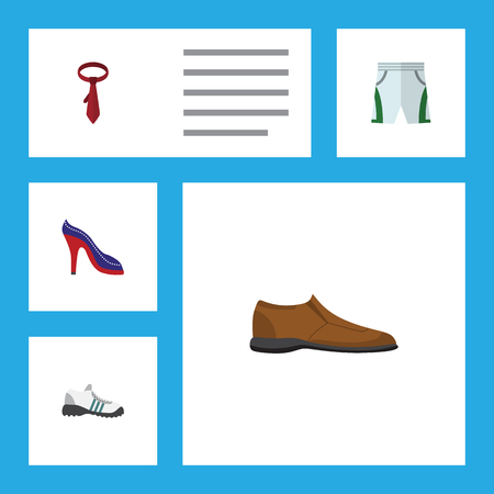 Flat Icon Dress Set Of Heeled Shoe, Sneakers, Male Footware And Other Vector Objects