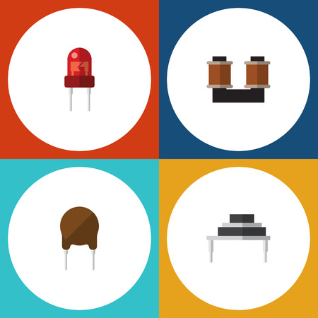 Flat Icon Electronics Set Of Triode, Recipient, Destination And Other Vector Objects Illustration