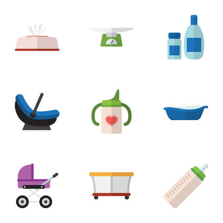 Flat Icon Infant Set Of Bathtub, Tissue, Stroller And Other Vector Objects