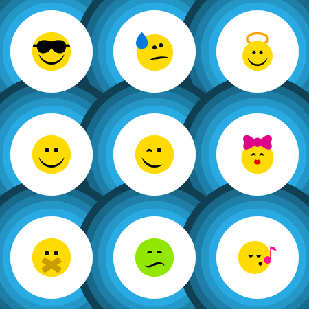 Flat Icon Gesture Set Of Happy, Caress, Hush And Other Vector Objects