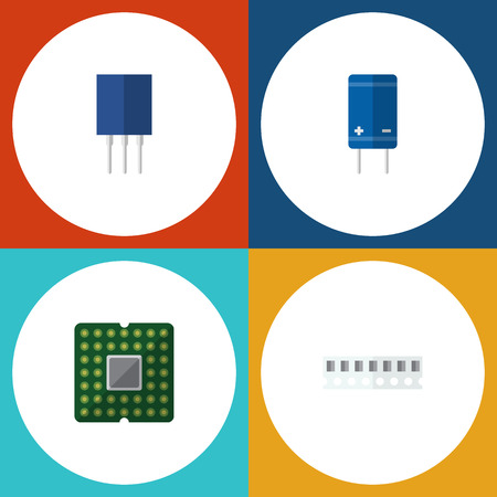 Flat Icon Electronics Set Of Transistor, Unit, Memory And Other Vector Objects