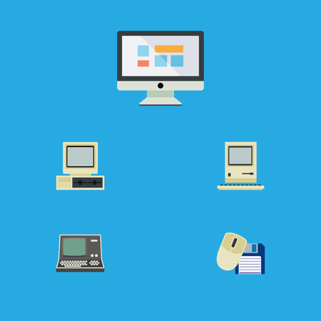 computerized: Flat Icon Laptop Set Of Display, Technology, Computer And Other Vector Objects Illustration