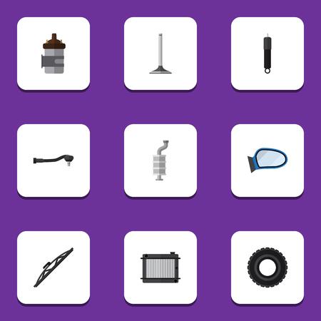Platte pictogram Component Set van wiel, verbranding, autosegment en andere Vectorobjecten Stock Illustratie