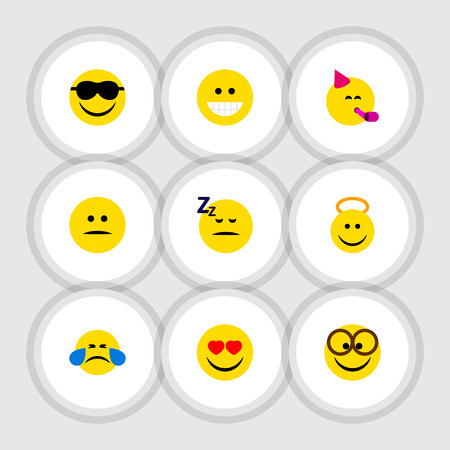 Flat Icon Emoji Set Of Cold Sweat, Grin, Love And Other Vector Objects