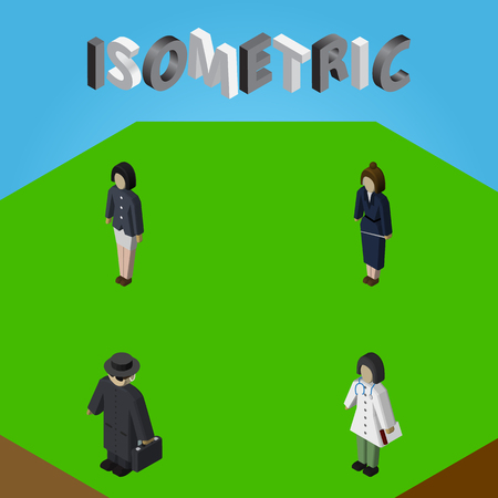 Isometric People Set Of Doctor, Businesswoman, Detective And Other Vector Objects