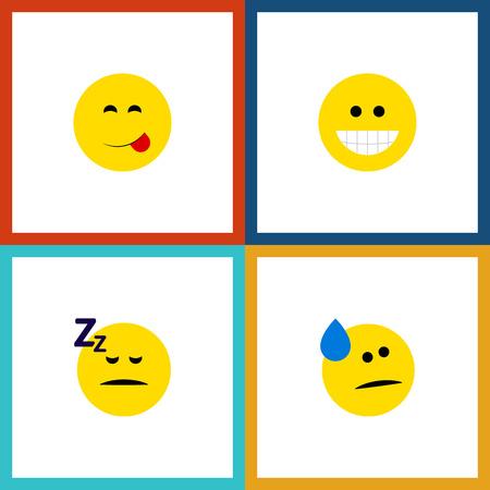 Ícone plano Emoji Conjunto de sorrisos, comida deliciosa, dormindo e outros objetos vetoriais