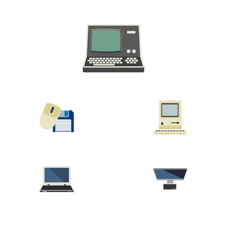 Flat Icon Laptop Set Of Computer Mouse, Notebook, PC And Other Vector Objects Illustration