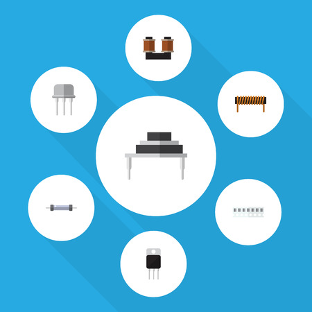 Flat Icon Electronics Set Of Receiver, Memory, Resistor And Other Vector Objects Illustration