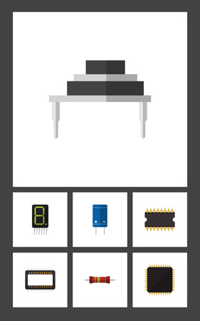 Flat Icon Appliance Set Of Microprocessor, Cpu, Display And Other Vector Objects