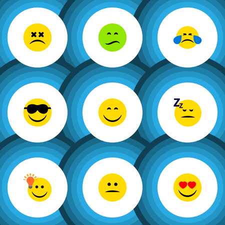 Flat Icon Emoji Set Of Have An Good Opinion, Asleep, Love And Other Vector Objects Illustration