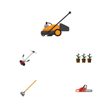blade: Flat Icon Dacha Set Of Grass-Cutter, Hacksaw, Lawn Mower And Other Vector Objects