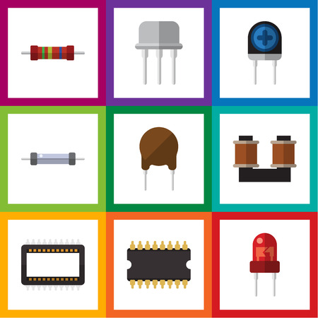 Flat Icon Appliance Set Of Microprocessor, Resistor, Triode And Other Vector Objects Illustration