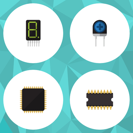 Flat Icon Appliance Set Of Microprocessor, Transducer, Display And Other Vector Objects
